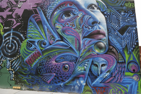 NEW YORK - NOVEMBER 13:Mural art in Park Slope section of Brooklyn on November 13, 2014. A mural is any piece of artwork painted or applied directly on a wall, ceiling or other large permanent surface Sajtókép