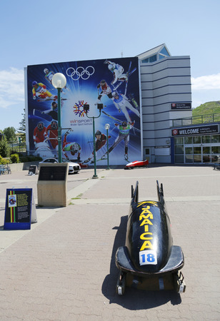 bobsleigh: CALGARY, CANADA - JULY 29: Jamaican Bobsleigh Team bob used during XV Winter Olympic Games located at Canada Olympic Park in Calgary on July 29, 2014