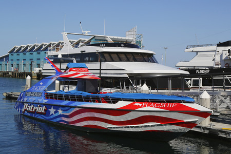 flagship: SAN DIEGO - SEPTEMBER 29 - Patriot Jet Boat in San Diego Harbor on September 29, 2014. The Patriot Jet Boat is a brand new addition to Flagship Cruises in San Diego