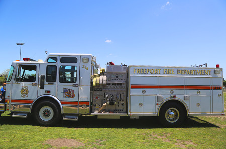 freeport: FREEPORT, NEW YORK - MAY 25: Freeport Patriot Hose company 4 fire truck in Long Island on May 25, 2014 Editorial