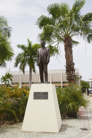 hon: GRAND CAYMAN - JUNE 12:James Manoah Bodden statue at Heroes Square in George Town on June 12, 2014. Hon. James Bodden, was given the honour as the first National Hero of the Cayman Islands