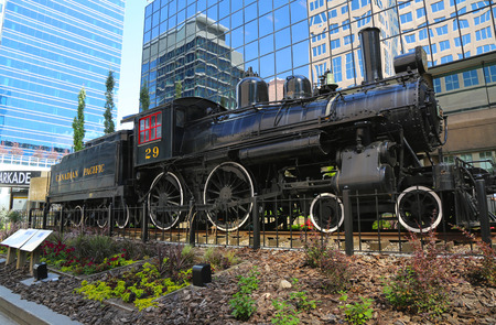 canadian pacific: CALGARY, CANADA - JULY 29: Canadian Pacific Railway Locomotive 29 on July 29, 2014 in Calgary. It was the last steam locomotive to close out the railway s steam era in 1960