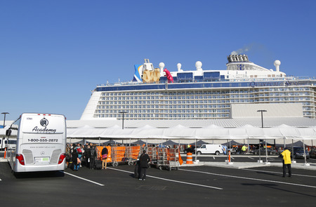 caribbean cruise: BAYONNE, NEW JERSEY - NOVEMBER 18: First passengers arriving at Newest Royal Caribbean Cruise Ship Quantum of the Seas docked at Cape Liberty Cruise Port before inaugural voyage on November 18, 2014