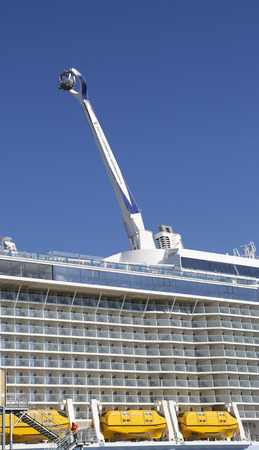 newest: BAYONNE, NEW JERSEY - NOVEMBER 18: The NorthStar observation tower at the  newest Royal Caribbean Cruise Ship Quantum of the Seas docked at Cape Liberty Cruise Port on November 18, 2014
