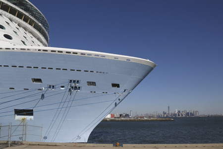 caribbean cruise: BAYONNE, NEW JERSEY - NOVEMBER 18: Newest Royal Caribbean Cruise Ship Quantum of the Seas docked at Cape Liberty Cruise Port with the view of Manhattan  before inaugural voyage on November 18, 2014