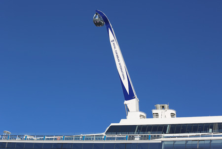 caribbean cruise: BAYONNE, NEW JERSEY - NOVEMBER 18: The NorthStar observation tower at the  newest Royal Caribbean Cruise Ship Quantum of the Seas docked at Cape Liberty Cruise Port on November 18, 2014