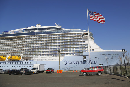 caribbean cruise: BAYONNE, NEW JERSEY - NOVEMBER 18: Newest Royal Caribbean Cruise Ship Quantum of the Seas docked at Cape Liberty Cruise Port before inaugural voyage on November 18, 2014. Editorial