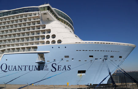 newest: BAYONNE, NEW JERSEY - NOVEMBER 18: Newest Royal Caribbean Cruise Ship Quantum of the Seas docked at Cape Liberty Cruise Port before inaugural voyage on November 18, 2014. Editorial