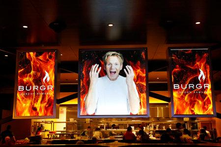 LAS VEGAS, NEVADA - SEPTEMBER 25: Inside of the  Gordon Ramsay BurGR Restaurant at Planet Hollywood Resort and Casino in Las Vegas on September 25, 2014