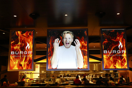 LAS VEGAS, NEVADA - SEPTEMBER 25: Inside of the  Gordon Ramsay BurGR Restaurant at Planet Hollywood Resort and Casino in Las Vegas on September 25, 2014 Stock fotó - 34183709