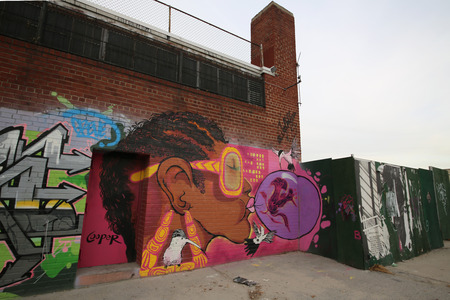 NEW YORK - NOVEMBER 4: Mural art at East Williamsburg in Brooklyn on November 4, 2014. Outdoor art gallery known as the Bushwick Collective has most diverse collection of street art in Brooklyn
