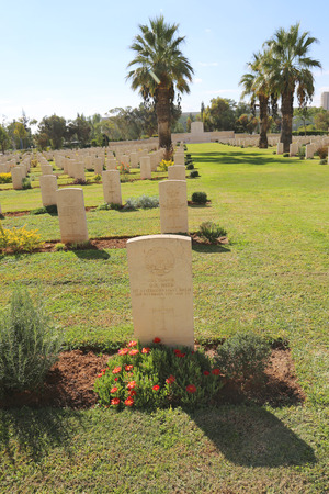 israel war: BEER SHEBA, ISRAEL - NOVEMBER 28: Beer Sheba War Cemetery on November 28, 2014. This cemetery contains 1,241 Commonwealth burials of the Great War, 67 of them unidentified Editorial