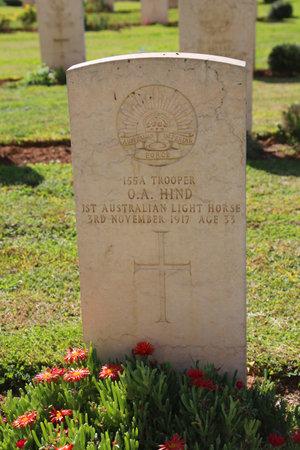 israel war: BEER SHEBA, ISRAEL - NOVEMBER 28: Gravestone of fallen 1st Australian Light Horse trooper at Beer Sheba War Cemetery on November 28, 2014