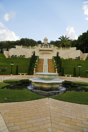 HAIFA, ISRAEL - NOVEMBER 26: The Bahai Gardens and Temple, on the slopes of the Carmel Mountain in Haifa, Israel on November 26, 2014