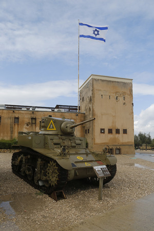 israel war: LATRUN, ISRAEL - NOVEMBER 27: American M3A1 Stuart light tank on display at Yad La-Shiryon Armored Corps  Museum at Latrun on November 27, 2014. The M3 Stuart is an American light tank of World War II Editorial