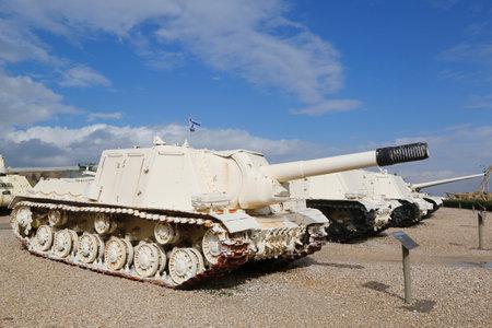 israel war: LATRUN, ISRAEL - NOVEMBER 27: Russian made ISU-152 self propelled gun captured by IDF during Six Day War in Sinai on display at Yad La-Shiryon Armored Corps  Museum at Latrun on November 27, 2014 Editorial
