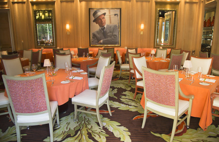 sanctioned: LAS VEGAS, NEVADA - MAY 10: Forbes Travel Guide Four-Star Sinatra Restaurant Interior at Encore Las Vegas Casino on May 10, 2014. It is only Italian restaurant sanctioned by Frank Sinatra s family