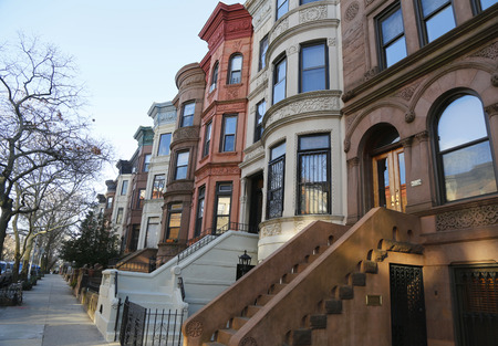 Famous New York City brownstones in Prospect Heights neighborhood in Brooklyn Редакционное