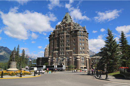 BANFF, CANADA - JULY 26: Banff Springs Hotel in the Canadian Rockies on July 26, 2014. The Banff Springs Hotel was built during the 19th century in Scottish Baronial style