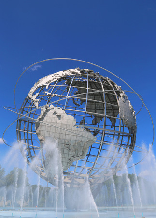 world's: NEW YORK - AUGUST 18: 1964 New York World s Fair Unisphere in Flushing Meadows Park on August 18, 2014. It is the worlds largest global structure, rising 140 feet and weighing 700 000 pounds Editorial