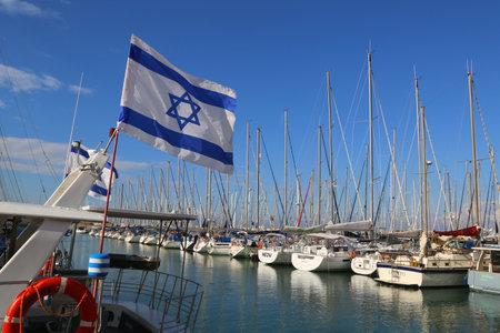 HERZLIYA, ISRAEL - NOVEMBER 25: Sailing yachts in Herzliya Marina on November 25, 2014. It is the largest marina in Israel, provides moorings for yachts of all sizes including mega yachts