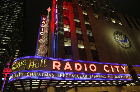 NEW YORK - DECEMBER 18: New York City landmark, Radio City Music Hall in Rockefeller Center decorated with Christmas decorations in Midtown Manhattan on December 18, 2014