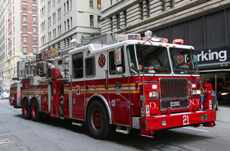 NEW YORK CITY- DECEMBER 18: FDNY Ladder Company 21 in midtown Manhattan on December 18, 2014. FDNY is the largest combined Fire and EMS provider in the world