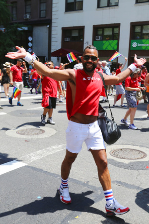 sexual orientation: NEW YORK - June 29, 2014:Delta Airlines LGBT Pride Parade participants in New York City on June 29, 2014. LGBT pride march takes place during pride week and is the culmination of week long festivities Editorial