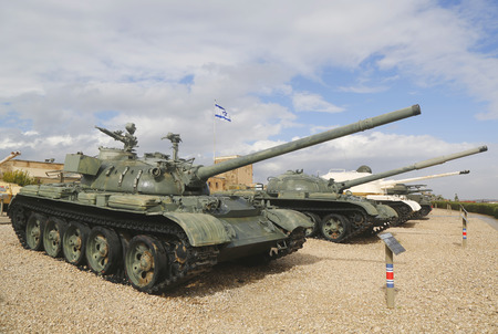 israel war: LATRUN, ISRAEL - NOVEMBER 27: Russian made tank T-55 captured during Six Day War and commissioned by IDF on display at Yad La-Shiryon Armored Corps Museum at Latrun on November 27, 2014