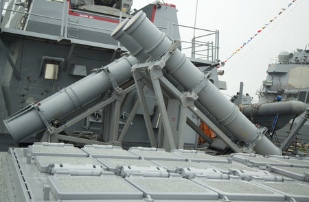 NEW YORK - MAY 22: Harpoon cruise missile launchers and 90-cell Vertical Launching System for Tomahawk missiles on US Navy destroyer USS Cole during Fleet Week 2014 on May 22, 2014 in New York