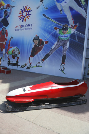 bobsleigh: CALGARY, CANADA - JULY 29: Canadian Bobsleigh Team bob used during XV Winter Olympic Games located at Canada Olympic Park in Calgary on July 29, 2014 Editorial