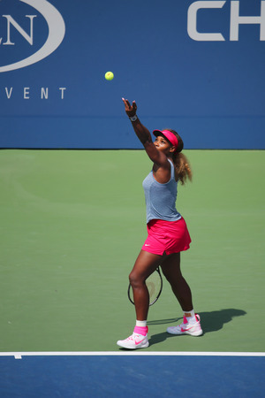 atp: NEW YORK - SEPTEMBER 2, 2014: Grand Slam champion Serena Williams during quarterfinal doubles match at US Open 2014 at National Tennis Center in New York Editorial