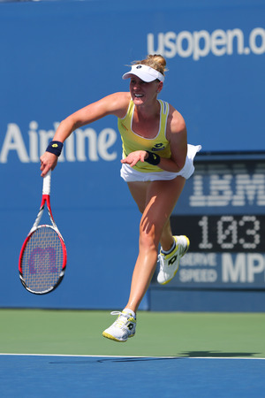 grand slam: NEW YORK - AUGUST 26, 2014: Professional tennis player Alison Riske from USA during US Open 2014 match against Grand Slam Champion Ana Ivanovic at Billie Jean King National Tennis Center in New York