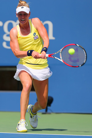 alison: NEW YORK - AUGUST 26, 2014: Professional tennis player Alison Riske from USA during US Open 2014 match against Grand Slam Champion Ana Ivanovic at Billie Jean King National Tennis Center in New York