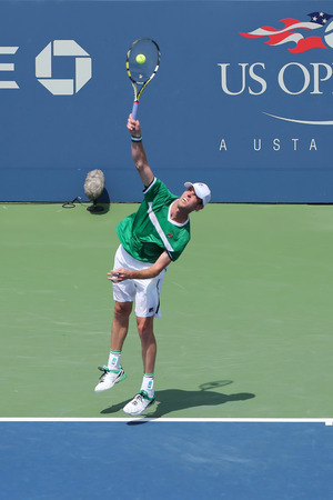 maximo: NEW YORK - AUGUST 26, 2014: Professional tennis player Sam Querrey from USA during US Open 2014 match against Maximo Gonzalez at Billie Jean King National Tennis Center in New York