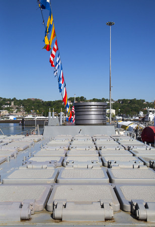 NEW YORK - MAY 25, 2014: 90-cell Vertical Launching System for Tomahawk missiles on US Navy destroyer USS McFaul during Fleet Week 2014 in New York
