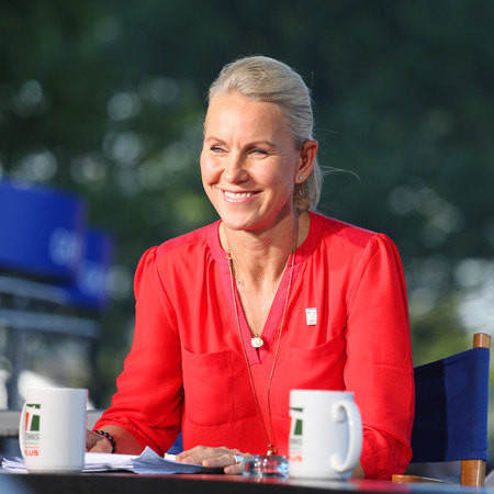 commentator: NEW YORK - AUGUST 25, 2014: Tennis Channel commentator and former professional tennis player Rennae Stubbs during interview at US Open 2014  in New York