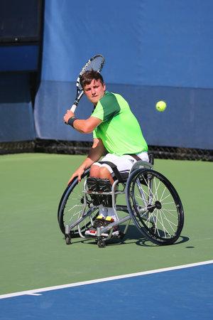 atp: NEW YORK - SEPTEMBER 4, 2014: Tennis player Gordon Reid from Great Britain during US Open 2014 wheelchair singles match at Billie Jean King National Tennis Center in New York Editorial