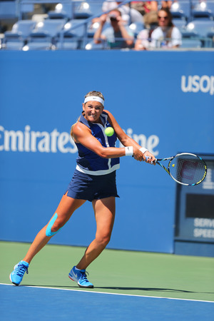 billie: NEW YORK - AUGUST 28, 2014: Two times Grand Slam champion Victoria Azarenka from Belarus during second round match at US Open 2014 against Christina McHale at Billie Jean King National Tennis Center