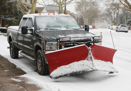 snow plow: BROOKLYN, NEW YORK - JANUARY 26, 2015: New York City ready for clean up after massive Snow Storm Juno strikes Northeast