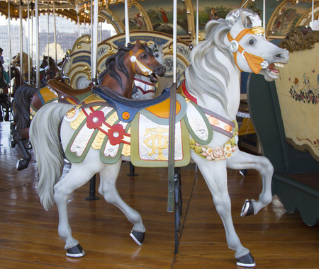 jane: BROOKLYN, NEW YORK - APRIL 24, 2014: Horses on a traditional fairground Jane s carousel in Brooklyn. It is historic and beautifully restored carousel build in 1922 a gift of Jane and David Walentas