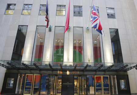 auction: NEW YORK CITY - DECEMBER 18, 2014: Christies main headquarters at Rockefeller Plaza in New York. Christies is the worlds largest art business and a fine arts auction house Editorial