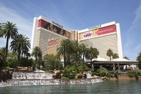 cirque du soleil: LAS VEGAS, NEVADA - MAY 9, 2014: The Mirage Casino on the Las Vegas Strip in Las Vegas. The Mirage is a 3 044 room hotel and casino resort built by developer Steve Wynn