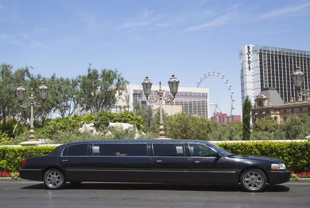 LAS VEGAS, NEVADA - MAY 9, 2014: Stretch limousine near Las Vegas Strip. The first stretch limousine was created in Fort Smith, AR around 1928 by a coach company named Armbruster