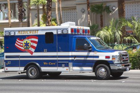 LAS VEGAS, NEVADA - MAY 9, 2014: Medic West Ambulance Truck on Las Vegas Strip Sajtókép