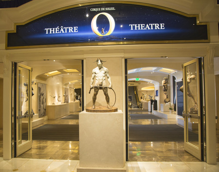soleil: LAS VEGAS, NEVADA - MAY 9, 2014: Entrance to O Theatre by Cirque du Soleil at the Bellagio hotel in Las Vegas. O is a Cirque du Soleil stage production written and directed by Franco Dragone Editorial