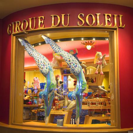 soleil: LAS VEGAS, NEVADA - MAY 9, 2014: Costumes designed for O Show by Cirque du Soleil on display at the Bellagio hotel. O is a Cirque du Soleil stage production written and directed by Franco Dragone Editorial