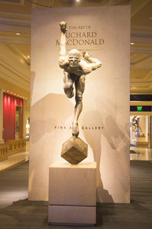 macdonald: LAS VEGAS, NEVADA - MAY 9, 2014: Exhibition of statues Cirque du Soleil artists in Las Vegas. Over 50 bronze sculptures of Richard MacDonald are exhibited in O Theatre gallery at Bellagio hotel