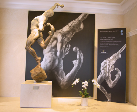 soleil: LAS VEGAS, NEVADA - MAY 9, 2014: Statue of Cirque du Soleil artist on exhibition in Las Vegas. Over 50 bronze sculptures of Richard MacDonald are exhibited in O Theatre gallery at Bellagio hotel Editorial
