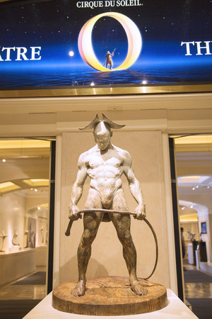 cirque du soleil: LAS VEGAS, NEVADA - MAY 9, 2014: Entrance to O Theatre by Cirque du Soleil at the Bellagio hotel in Las Vegas. O is a Cirque du Soleil stage production written and directed by Franco Dragone Editorial